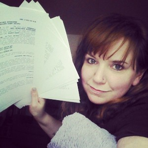 My love is writing. This was my three book contract from Kensington--yes, I love being in the pictures I take!