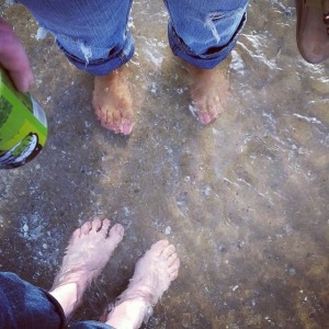 Me and my bestie with our toes in the water.